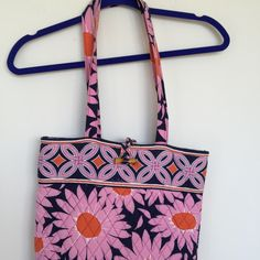 Vera Bradley pink daisy totes bag. . Wear once . Beautiful an slight . Great for school or work . Fit laptop and lot of books . I'm a teacher and ability to carry a lot in this little thing . Vera Bradley Bags Totes