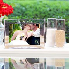 Mr Mrs Sand Ceremony Photo Vase Unity Set