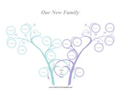 Perfect for weddings, this printable family tree features two beautiful trees intertwining their roots and sharing family members. Free to download and print