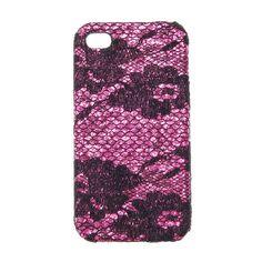 Coque pour téléphone en dentelle noire et rose - iPhone 4/4S