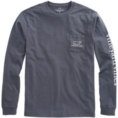 Shop Long-Sleeve Vintage Graphic T-Shirt at vineyard vines ($42) ❤ liked on Polyvore featuring tops, t-shirts, tops/outerwear, long sleeve graphic t shirts, vintage t shirts, graphic t shirts, long sleeve cotton t shirts and pocket t shirts