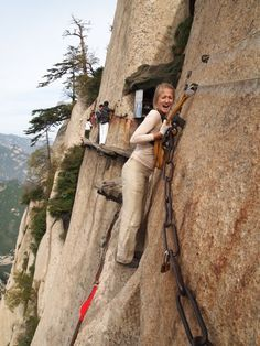 Mount Hua or Hua Shan, China...is that a look of delight or sheer fright?