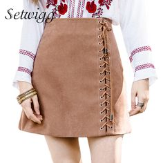 SETWIGG Spring Velvet A-line Lace-up Mini Skirts High Waist Zipper Side  Draw String Faux Suede Short Skirts Autumn Skirts    Price   21.69   FREE  Shipping ... cce475cc8527
