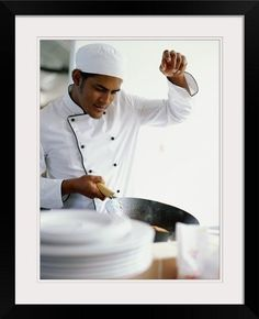 1a394796d7f6 GreatBIGCanvas Chef Cooking Food in The Kitchen Photographic Print with black  Frame 18 x 24