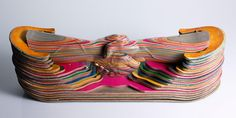 Artist Haroshi recycles skateboards into incredible sculptures: http://www.thinktank.org.uk/blog/2185-colourful-skateboard-sculptures.php