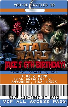 Star Wars Invitation - Your guests will be so excited to get their VIP Pass inviting them to your childs Star Wars party! Each VIP Pass