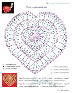 Crochet-Knitting free pattern : Crochet Hearts - two diagrams, this larger one and a smaller one Tina's handicraft : 135 designs & patterns for harts ru get 4507 nitkowo me-Agnes M. So pretty and perfect for layering as shown on the box above! Crochet Diagram, Crochet Chart, Thread Crochet, Love Crochet, Crochet Motif, Crochet Designs, Crochet Doilies, Crochet Flowers, Crochet Stitches