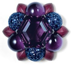 brooch of amethysts, sapphires, white gold, silver and wood - Joia Gems: Hemmerle High Jewelry, Modern Jewelry, Luxury Jewelry, Jewelry Art, Antique Jewelry, Vintage Jewelry, Jewelry Design, Jewelry Ideas, Purple Jewelry