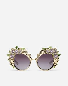81e49ccbb74 Metal sunglasses with hydrangea embellishment