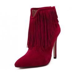 #Red #Suede #Boho #Fringed #HighHeel #AnkleBoots #AW15 £34.99 @ ShanghaiTrends.co.uk  /  http://shanghaitrends.co.uk/red-suede-boho-fringed-high-heel-ankle-boots