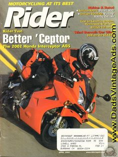 2002 April Rider Motorcycle Magazine Back-Issue Vintage Honda Motorcycles, Father Daughter, Touring, Oregon, Magazines, Abs, Sport, Journals, Deporte