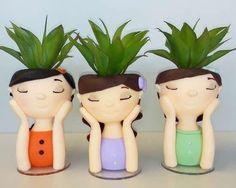 Face Planters, Ceramic Planters, Biscuit, Art Diy, Plastic Bottle Crafts, Deco Floral, 3d Prints, Painted Pots, Succulent Pots