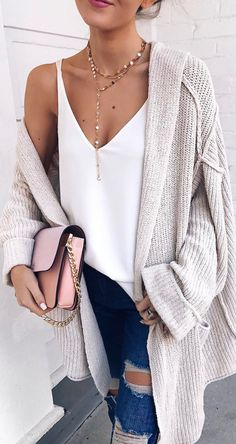 Oversized Cardigan, distressed jeans, tank... even the necklace! Love all 4!