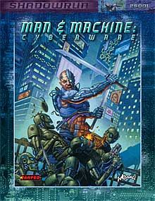 Man & Machine: Cyberware | Book cover and interior art for Shadowrun Third Edition - SR3, 3rd Ed, 3E, science fiction, sci-fi, scifi, scify, Roleplaying Game, Role Playing Game, RPG, FASA Games Inc., FASA Corporation, Ral Partha Europe Ltd. | Create your own roleplaying game books w/ RPG Bard: www.rpgbard.com | Not Trusty Sword art: click artwork for source