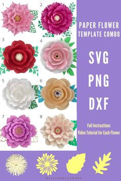 This large paper flower template combo is great for making paper flowers crafts at saving cost! Don't miss it out! #largepaperflowertemplate #paperflowertemplate #paperflowertemplatesvg #largepaperflowersvg #paperflowerscraft #paperflowersdiy #paperflowertutorial #largepaperflowers #paperflowerseasy Large Paper Flower Template, Paper Flower Tutorial, Easy Paper Flowers, Paper Flower Backdrop, Flower Svg, Flower Crafts, Printable Templates, Printable Paper, Giant Paper Flowers
