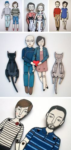 Custom Bride/Groom/Pets paper dolls - PERFECTION. This would be such a cute idea as a part of the invitations or in the centerpieces