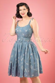 Collectif Clothing Jade Seashell Denim Swing Dress 20834 20161128 01W