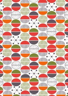 Modern Retro 1950's Inspired Pattern Art Print #redroadstudio