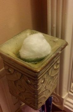 This is a AWESOME tip!!! I use this at home all the time to soak up my used wax.. give it a try!! Cotton Ball and warmed Scentsy Wax. let soak. http://beautynscents.net