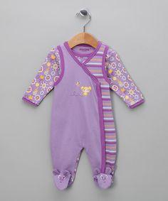 Purple Stripe Bodysuit & Footie by Fixoni