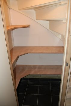 Interieur ideeën I like how you can't (barely) see the hanging mechanisms. Once you paint these whit Staircase Storage, Stair Storage, Pantry Storage, Storage Spaces, Interior Design Living Room, Living Room Designs, Under Stairs Pantry, Diy Bathroom, Home Upgrades