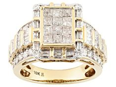 White Diamond 10k Yellow Gold Ring 2.00ctw - RGD022   JTV.com White Diamond Ring, Champagne Diamond, Diamond Gemstone, Yellow Gold Rings, Diamond Jewelry, Diamond Earrings, Gold Name Necklace, Brilliant Diamond, Gold Material