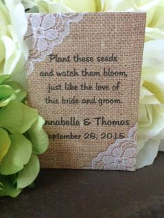 Custom Country Shabby Chic Burlap And White Lace Design Personalized Wedding Seed Packet Favors