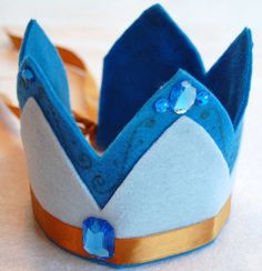 blue and gold felt crown