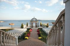 The breathtaking outdoor ceremony site with gazebo overlooking the blue water of the Long Island Sound. Surf Club on the Sound, New Rochelle (Westchester County), New York.