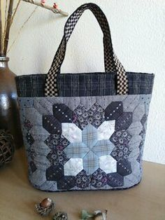 Mosaic (Hexagons) Bag by Emi's hand stitching