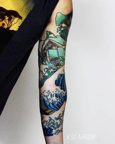 Моя любимая часть этого рукава  my favorite part. #tattoo #sleeve #ink #inked #follow #katsushikahokusai #ksuarrow #rtats #wave #village #тату