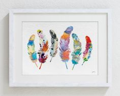 Watercolor Print  5x7 Archival Print  Feather Art by ElfShoppe, $12.00