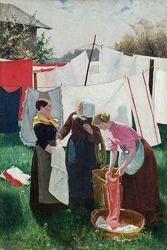 'Auf dem Wäschetrockenplatz' 'The laundry drying', 1899 - by Willibald Alfred Reuter (German artist, 1868-1899)