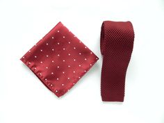 Knitted maroon burgundy skinny tie maroon white dotted pocket square wedding knit tie gift for him groomsmen uk by TheStyleHubTrends on Etsy