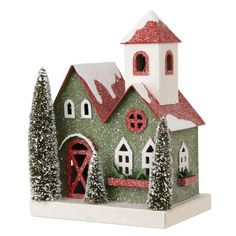 Green Putz Paper board Christmas House with Bottle Brush Trees shelley b home and holiday