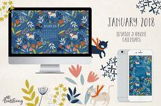 January 2018 Free Desktop Calendar Wallpaper Download - by Mel Armstrong