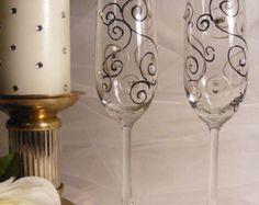 wedding toasting flutes with Swarovski crystal rhinestones and pearls - black and silver white swirls