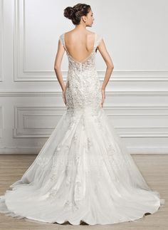 Trumpet/Mermaid Sweetheart Court Train Tulle Wedding Dress With Beading Appliques Lace Sequins (002056969)