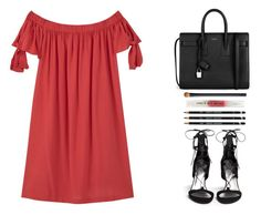 Untitled #413 by elliedella on Polyvore featuring polyvore fashion style MANGO Stuart Weitzman Yves Saint Laurent Stila NARS Cosmetics clothing offtheshoulders