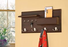 Entryway Coat Rack Mail Envelope Storage and Key Holder Hooks in Cappuccino Finish Entryway Coat Rack, Entryway Shelf, Entryway Organization, Organization Ideas, Storage Ideas, Mail Storage, Coat Storage, Storage Hooks, Dark Brown Walls