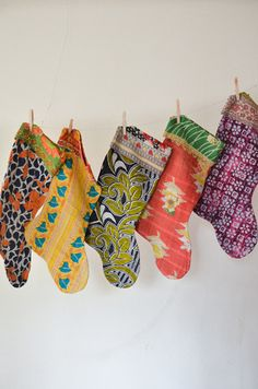 The Multi-Color Collection - Kantha Stockings | Limited edition vintage #kantha Christmas stockings, hand-stitched from repurposed cotton sari cloth.  No two stockings are alike. | handandcloth.org