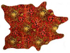 "New Zealand's Catherine David Designs sells these ""cowhide rugs"" made by cutting vintage carpets into the shape of a cowhide. Link (via Cribcandy) Rug Making, Making Out, Cow Skin Rug, Axminster Carpets, Cow Hide Rug, Vintage Flowers, Vintage Rugs, Rugs On Carpet, Retro"