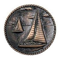 Nautical - Sailboats Round Knob in Antique Brass - Novelty Hardware Stock Kitchen Cabinets, Kitchen Cabinet Hardware, Favorite Paint Colors, Design Your Kitchen, Knobs And Pulls, Antique Copper, Oil Rubbed Bronze, Decorative Items, Design Elements