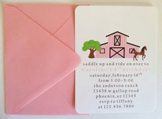 Girl Horse / Barn Birthday Party Invitations SET by LittleMavens