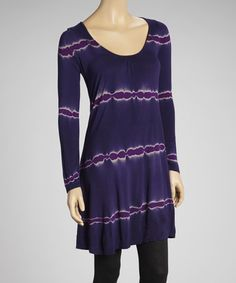Take a look at this Purple Tie Dye Long-Sleeve Tunic by Sylvie & Mado on #zulily today!