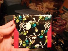 Skull/red duct tape change purse
