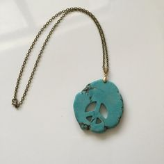 Huge, Turquoise Blue Howlite Peace Sign Necklace. Created by HappyLilac