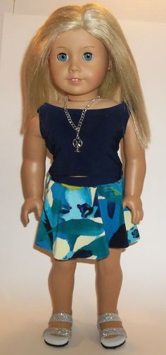 American Girl SKATER SkirtTeal Yellow Green by GoodGollyMsDolly