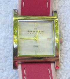 Women's Skagen Steel Watch Mother of Pearl Face with Pink Leather Band #Skagen #Dress