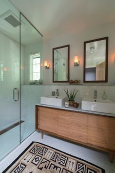 Palisades Renovation - transitional - Bathroom - Dc Metro - Rill Architects Like the MCM styled vanity and framed treatment of the mirrors.